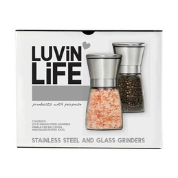 Glass & Stainless Steel Grinder Pack -with 200g Himalayan Salt & 100g Peppercorns