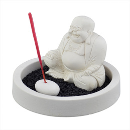 Stone Incense Holder - Happy Buddha