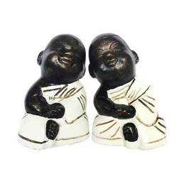 Statue Monk Pair - White