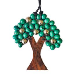Wooden Tree of Life Pendant Various Colours with Silver Beads