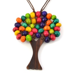 Wooden Tree of Life Necklace Various Colours