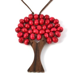 Wooden Tree of Life Necklace - Red