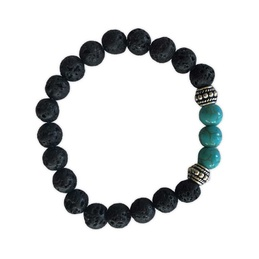 Lava Stone with Turquoise Howlite Diffuser Bracelet
