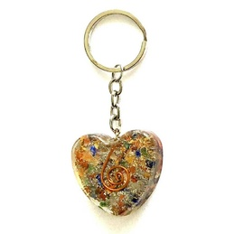 Orgonite Keyring Heart - Mixed Chakra