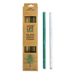 Glass Straw 2 Pack - Blue/Clear plus Cleaner