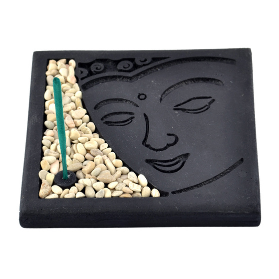 Stone Incense Holder - Buddha Face [ Colour : black ]
