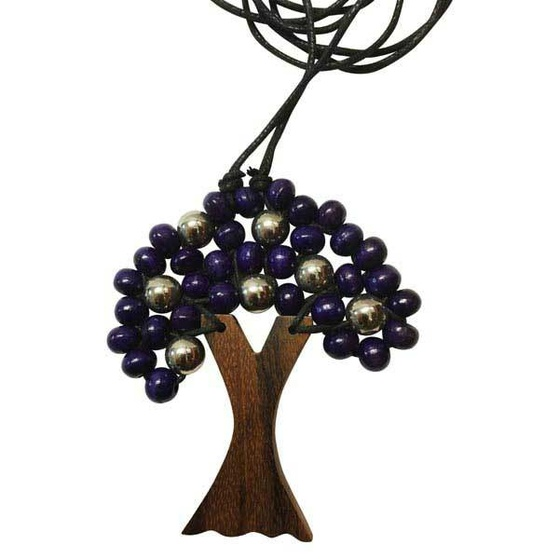 Wooden Tree of Life Pendant Various Colours with Silver Beads- Purple