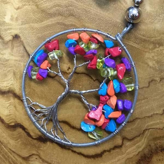 Silver Wire Twist with Gemstone Bead Tree of Life Necklace Multi